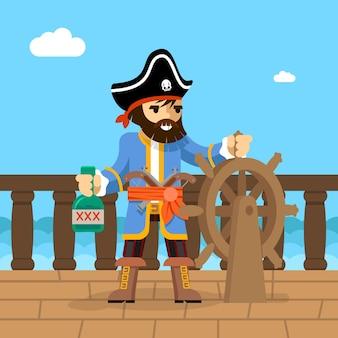 Filibuster. kapitein van piratenschip staande op het dek aan het roer met een fles rum.