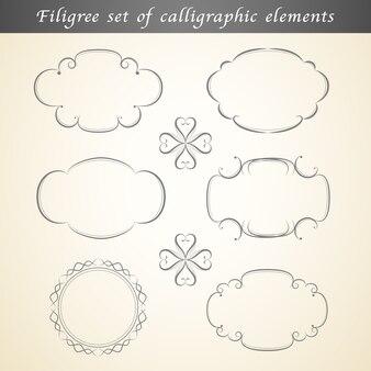 Filigraan set kalligrafische elementen verfraaien vintage design.