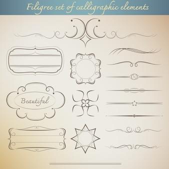 Filigraan set van kalligrafische elementen