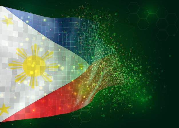 Filipijnen, op vector 3d-vlag op groene achtergrond met veelhoeken en gegevensnummers