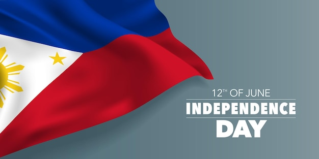 Filippijnen gelukkige onafhankelijkheidsdag banner. herdenkingsvakantie 12 juni ontwerp met wapperende vlag