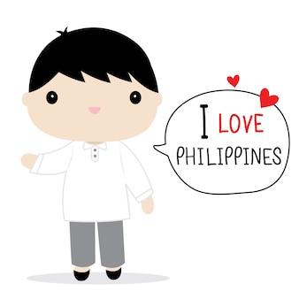 Filippijnen mannen nationale jurk cartoon vector