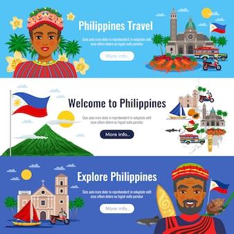 Filippijnen set van horizontale banners met reizen objecten en monumenten op blauw wit