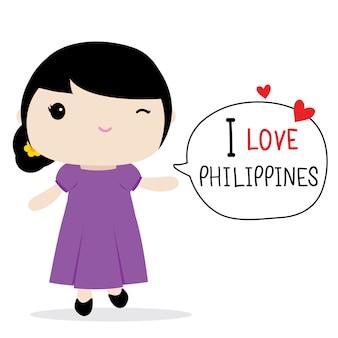 Filippijnen vrouwen nationale jurk cartoon vector