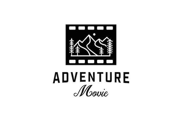 Film art lijntekeningen logo avontuur logo ontwerp