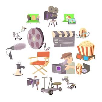 Film bioscoop symbolen pictogrammen instellen, cartoon stijl