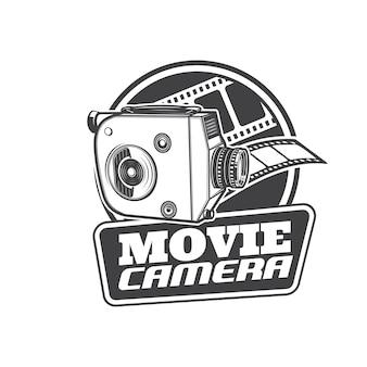 Film camera-icoontje, retro bioscoop en vintage videofilm, vector teken. oude klassieke filmcamera, cinematografie en filmapparatuur, televisievideocamcorder en bioscoopsymbool