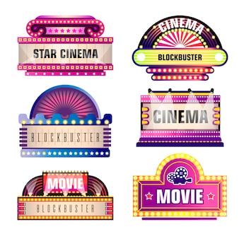 Film en bioscoop retro vector uithangborden
