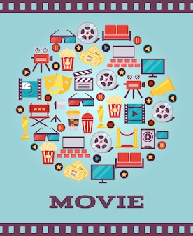 Film grafische pictogrammen op lichtblauwe achtergrond. een eenvoudig grafisch ontwerp van het i love movie-concept.