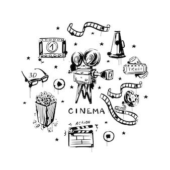 Film handgetekende set op een witte geïsoleerde achtergrond zwart-wit vintage videocamera