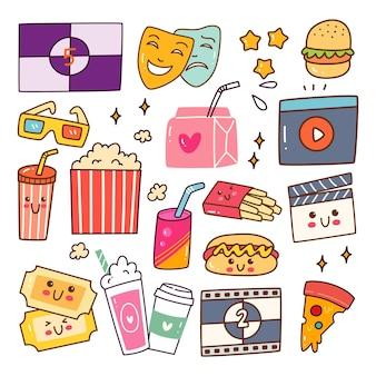 Film kijken kawaii doodle set