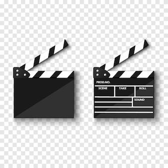 Film klepel bord geïsoleerd op transparante achtergrond