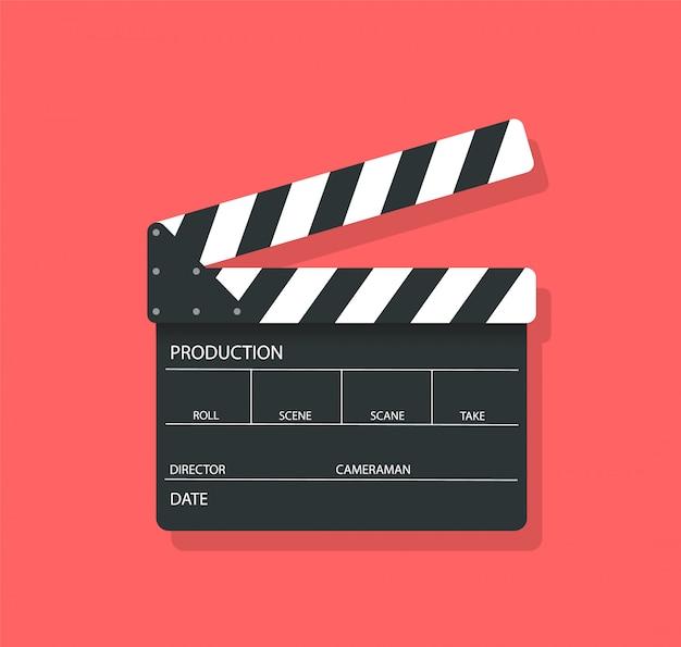 Film klepel bord in vlakke stijl.