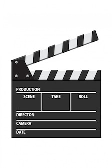 Film klepel bord vectorillustratie. video-icoon. filmverwerkende industrie