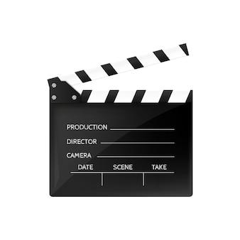 Film klepel geïsoleerd op wit zwarte open filmklapper.