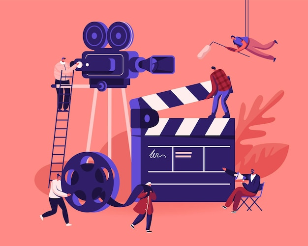 Film maken proces concept. operator met behulp van camera en personeel met professionele apparatuur film opnemen met acteurs. cartoon vlakke afbeelding