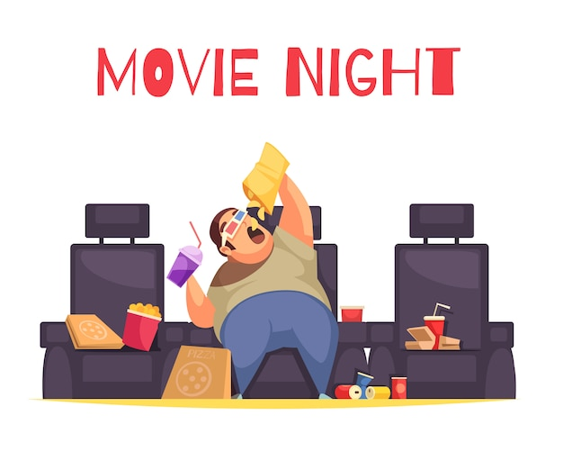 Film nacht concept met gulzigheid en te veel eten symbolen plat