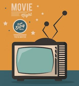 Film nacht kaart televisietoestel vintage