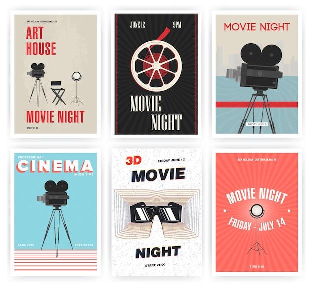 Film nacht poster set. bioscoopevenementen verschillende reclameborden. kleurrijke vectorillustratie.