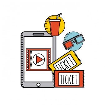 Film online platte lijn pictogrammen