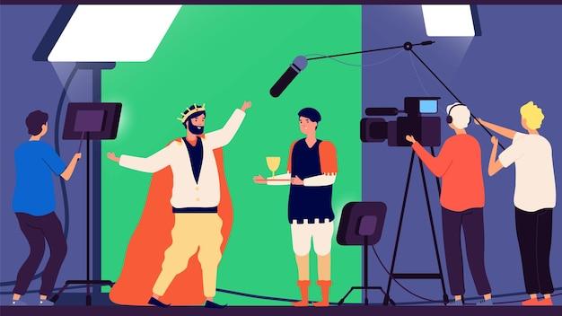 Film schieten. filmproductie, bioscoopregisseur en operator. tv-show maken, acteurs vector illustratie casten. bioscoopproductie in de filmindustrie