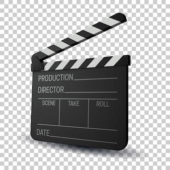 Film slapstick illustratie. inscriptie achter de schermen op flap