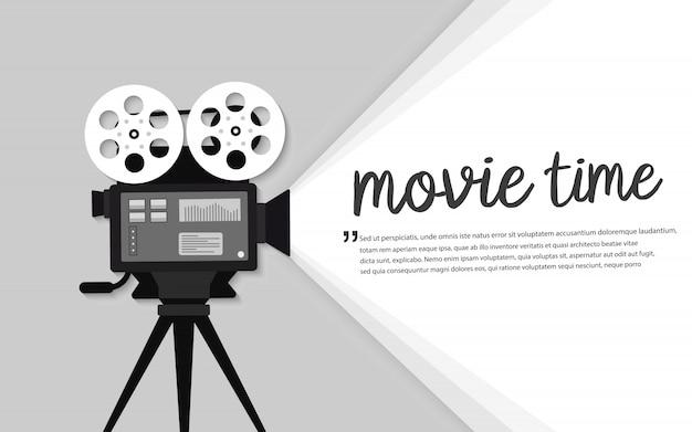 Film tijd plat concept. bioscoop