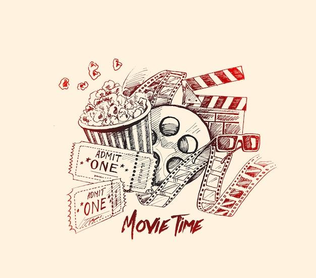 Film tijd poster hand getrokken schets vectorillustratie