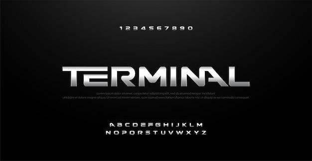 Film zilver metaal chroom alfabet typografie lettertype