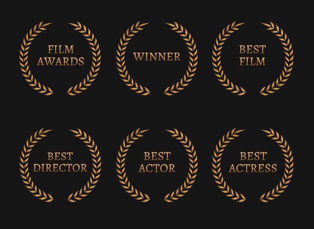 Filmacademie kent winnaars en beste genomineerde gouden kransen op zwarte achtergrond toe.