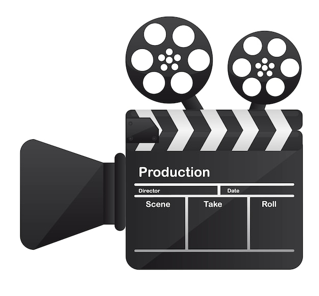 Filmbioscoop camera conceptuele over witte achtergrond vector