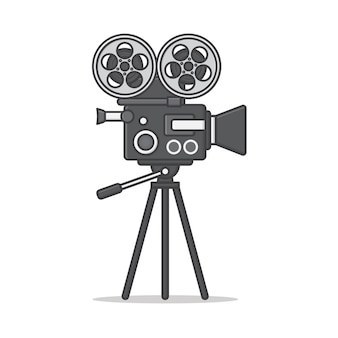 Filmcamera op een statief pictogram illustratie. film en film platte pictogram