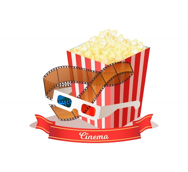 Filmdecoraties, glazen en popcorn, rolvector