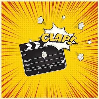 Filmklapper met clap woord tekstballon op vintage manga stijl achtergrond.