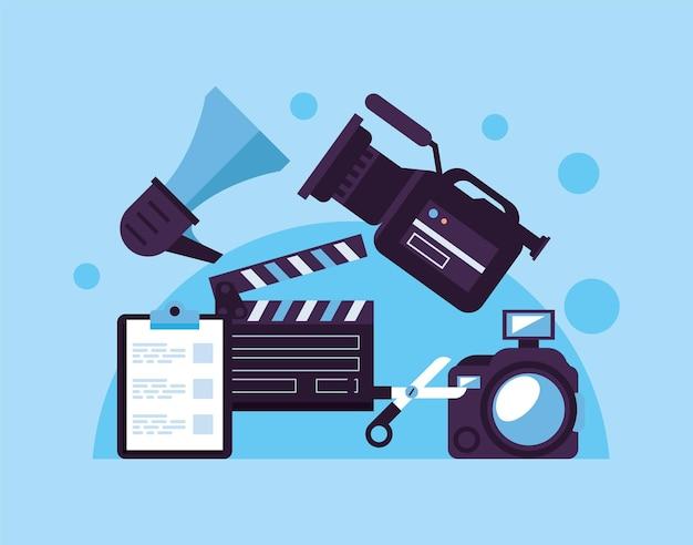 Filmklapper met pictogrammen voor videoproductieset