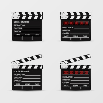 Filmklapper vector set. filmklapperfilm, videodakspaan, klepelbord, film cinematografie illustratie
