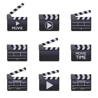Filmklapperborden. bioscoop houten klepel met titels, vectorsymbolen filmmaken
