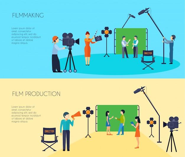 Filmmakers maken van filmscènes met banners die zijn opgenomen met cameraman en assistent van regisseur