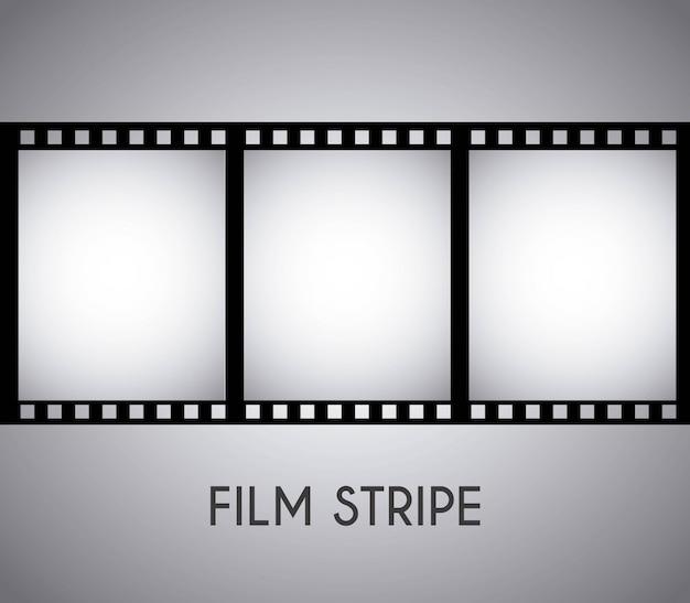 Filmontwerp over grijze vectorillustratie als achtergrond