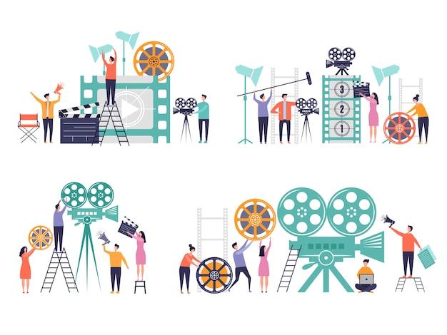 Filmproductie concept. personages maken films videocamera duig filmen persoon gekleurde achtergronden