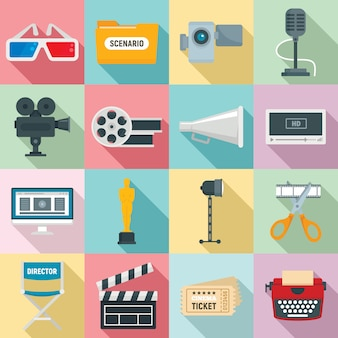 Filmproductie iconen set, vlakke stijl