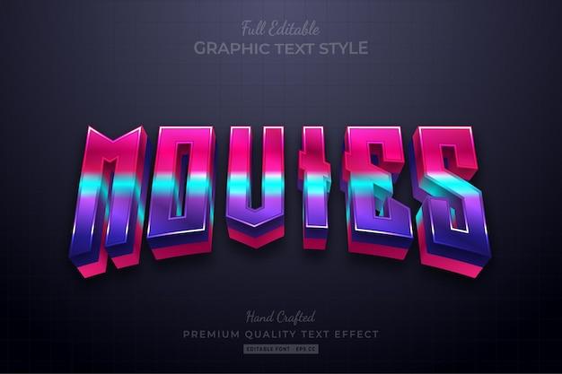 Films gradiënt 3d bewerkbaar teksteffect lettertypestijl