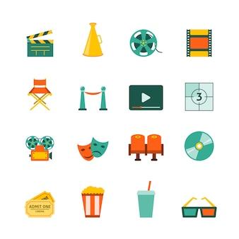 Films maken bioscoop ingang ingang retro kaartjes en 3d gepolariseerde glazen platte pictogrammen collectie geïsoleerde vector illustratie