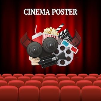 Filmstoelen met de illustratie van bioskoopelementen