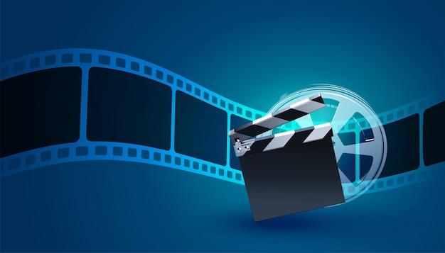 Filmstrip achtergrond met klepel bord Gratis Vector