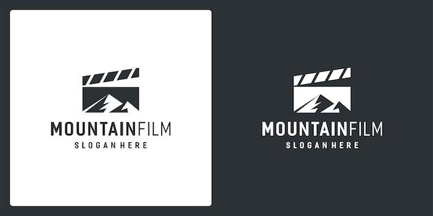 Filmstrip-logo-inspiratie en berglogo. premium vector