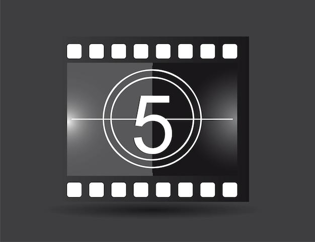 Filmstrook met de vectorillustratie van de vijf aantal zwarte kleur