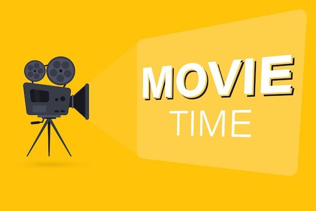 Filmtijdconcept met filmprojector en tekstgebied. filmcamera op het statief. projector met filmspoelen kan worden gebruikt voor banner, poster, webpagina, achtergrond
