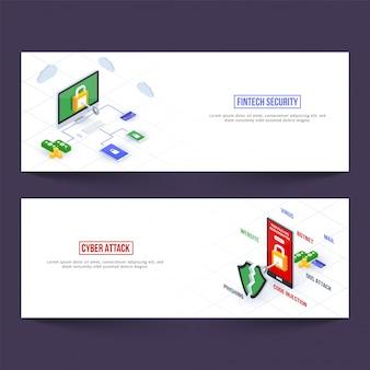 Fin-tech (financietechnologie) website banners voor cyberbeveiliging en cyberaanvallen.
