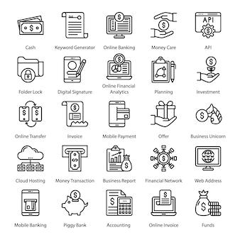 Fin tech line-pictogrammenpakket